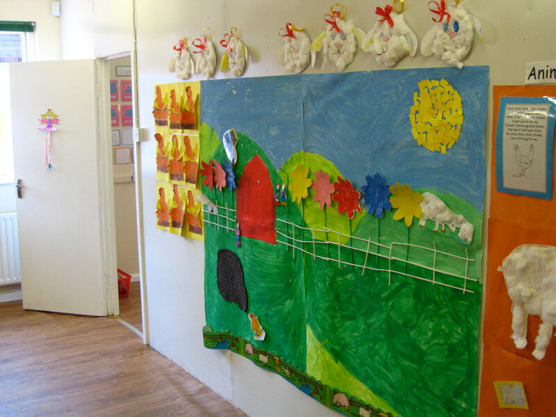 childrens art on wall in kids klubs childcare creche bayside co.dublin